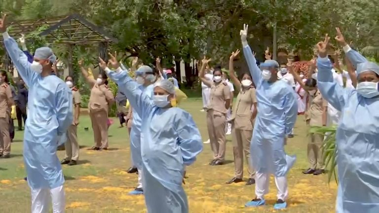 India's armed forces on Sunday (May 3) took to the skies to thank the country's healthcare workers and emergency services battling the coronavirus pandemic.