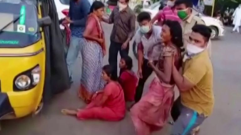 People are rushed to medics after gas leak in India
