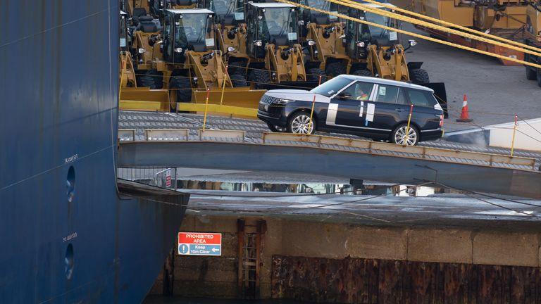 A Land Rover, made by British multinational car manufacturer Jaguar Land Rover, is driven on to a container ship at the Port of Southampton on February 10, 2019 in Southampton, England