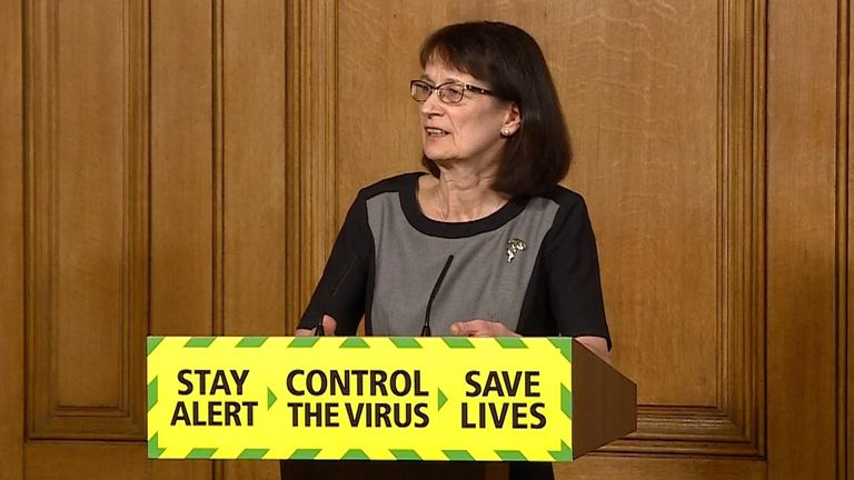 Dr Jenny Davies at government presser