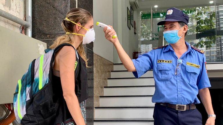 Shown are the latest temperature/health checks in Ho Chi Minh City, Vietnam