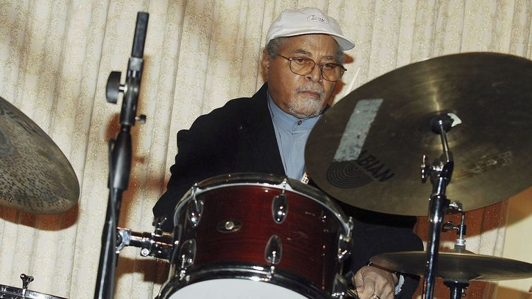 Drummer Jimmy Cobb performs at the Beacon Awards Gala 2006 With Bill Cosby at the Pierre Grand Ballroom February 27, 2006 in New York City. (Photo by Ray Tamarra/Getty Images)