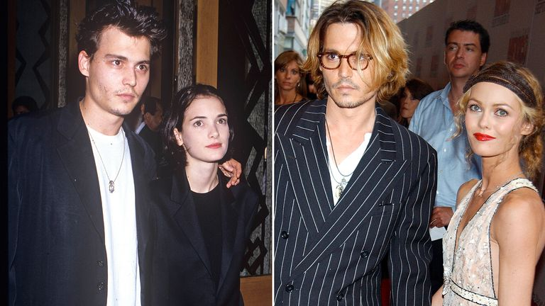 Johnny Depp with Winona Ryder and Vanessa Paradis. Pics: Dave Lewis/Charles Sykes/Shutterstock
