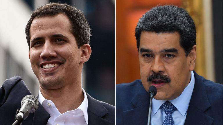 Juan Guaido (L) and President Nicolas Maduro