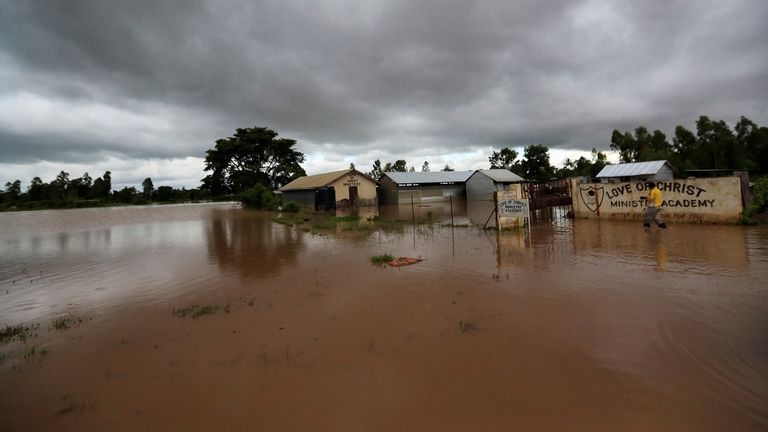 FILE PHOTO: A general view shows a flooded church compound after after River Nzoia burst its banks and due to the backflow from Lake Victoria, in Nyadorera, Siaya County, Kenya May 2, 2020. REUTERS/Thomas Mukoya/File Photo