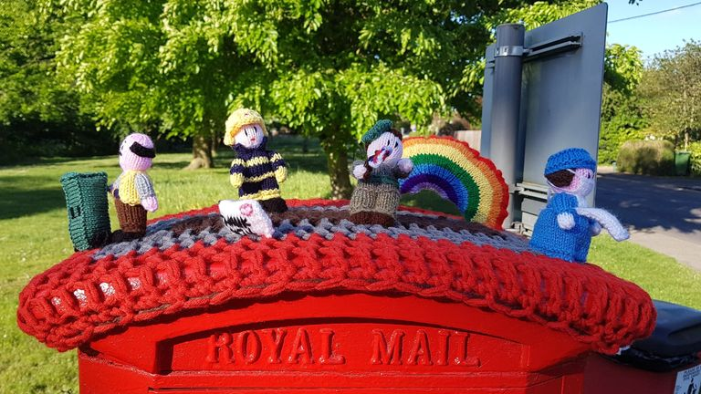 The knitted figures depict key workers, include a bin collector and a firefighter. Pic: Pat Moore