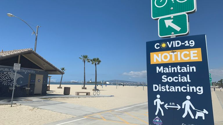 Coronavirus Los Angeles Beaches Are Reopening But Things Are Far From Normal Us News Sky News