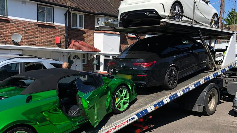 Two Mercedes cars were seized alongside the Lamborghini