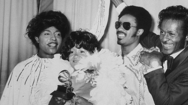 (L-R) Little Richard, Stevie Wonder's mother Lula Mae Hardaway, Stevie Wonder and Chuck Berry at the Grammy Awards in Hollywood, 2nd March 1974