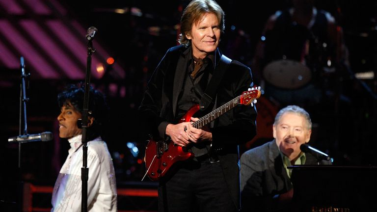 Musicians Little Richard, John Fogerty and Jerry Lee Lewis perform onstage during the 50th annual Grammy awards held at the Staples Center on February 10, 2008 in Los Angeles, California