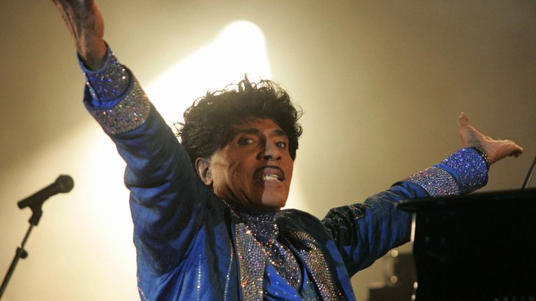 US rock legend Little Richard performs on the stage of the Terre Neuvas festival, 08 July 2006 in Bobital, western France