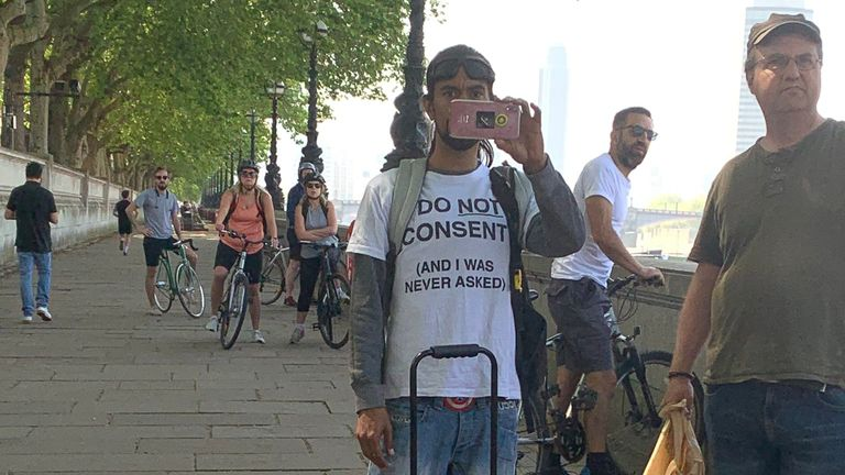 A person opposing UK lockdown measures at the protest in London. Pic: Anthony Joseph