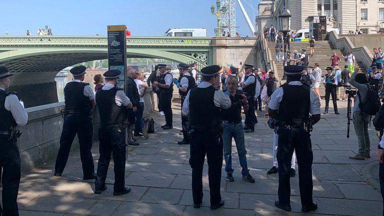 Police attempt to disperse the gathering in London. Pic: Anthony Joseph