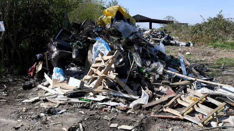 Rubbish is seen dumped near the village of Scraptoft, as recycling centers are closed due to the Coronavirus outbreak
