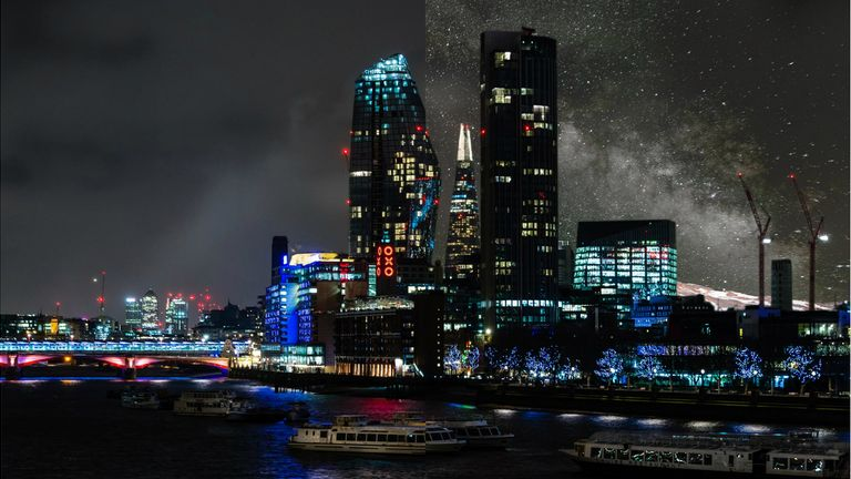 London before (left) and after (right) light pollution is removed