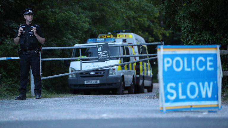 Police cordon by the B2149 road by Havant Thicket. Police have found a body in the search for a 16-year-old girl who has been missing since VE Day. The discovery was made in woodland in Havant, Hampshire by officers searching for Louise Smith who was last seen on May 8.