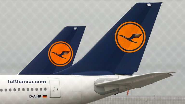 Planes of German flagship carrier Lufthansa