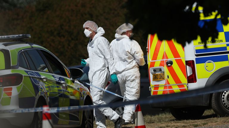 A forensic team was also seen on the castle grounds