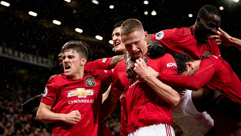 Manchester United celebrate a goal in a fixture shortly before the coronavirus lockdown saw the season suspended