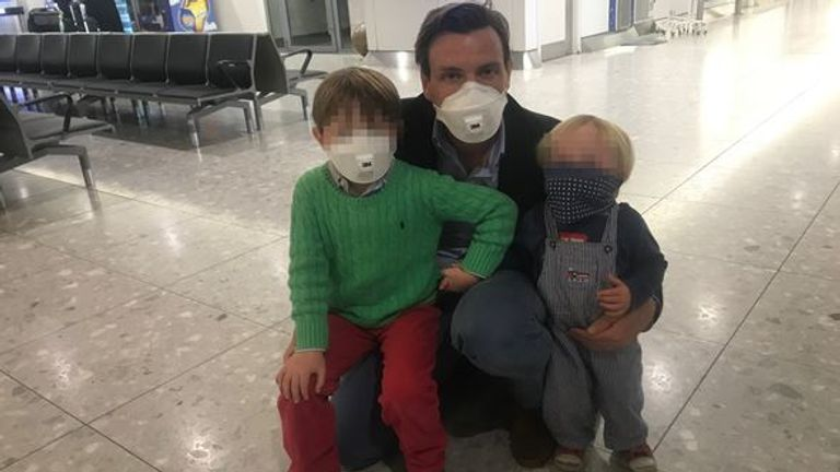 Mark Stone, Middle East correspondent with his two children