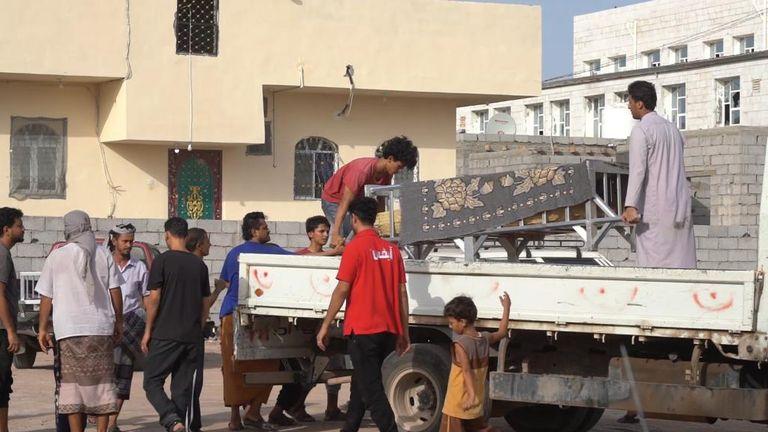A coffin on a van in Yemen