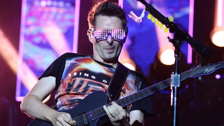 Matt Bellamy of Muse performs on stage during day two of Formula 1 Singapore Grand Prix at Marina Bay Street Circuit on September 21, 2019 in Singapore