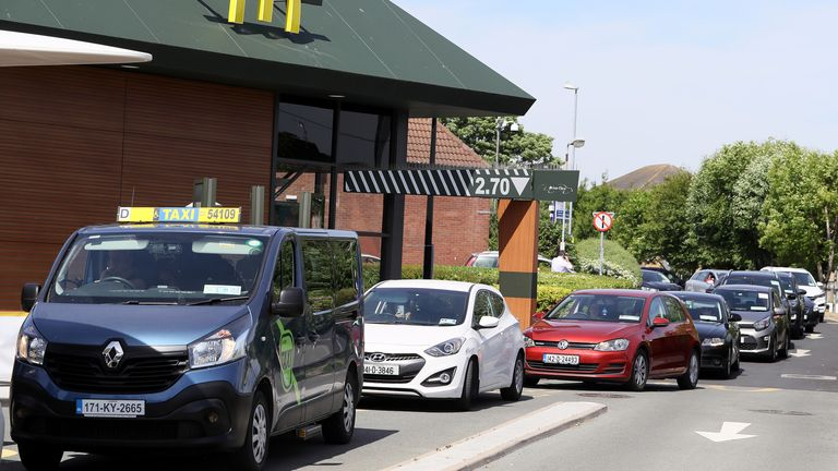 Large queues were seen at the restaurant's drive-throughs