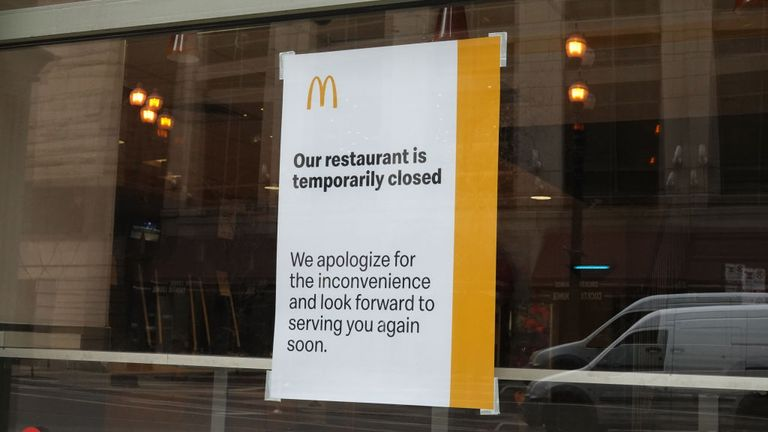 A sign up in a closed branch of McDonald's