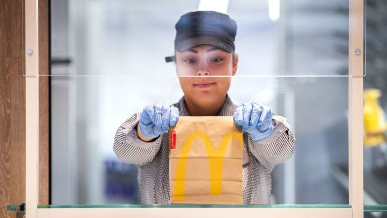 McDonald's has been holding test days for its workers to make sure the levels of safety are adequate. Pictured is a test centre in the Netherlands