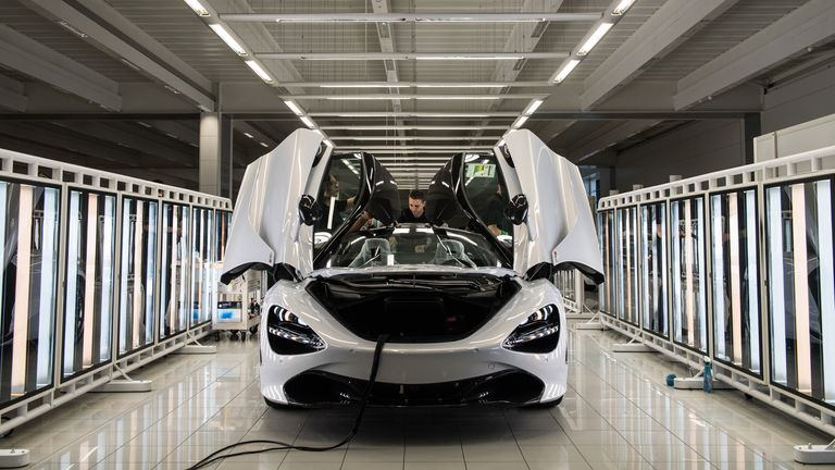 A McLaren 720S is seen on a production line