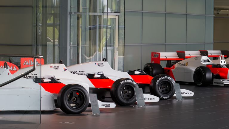 A general view of former McLaren racing cars at their centre in Woking, Surrey. 12/9/2017