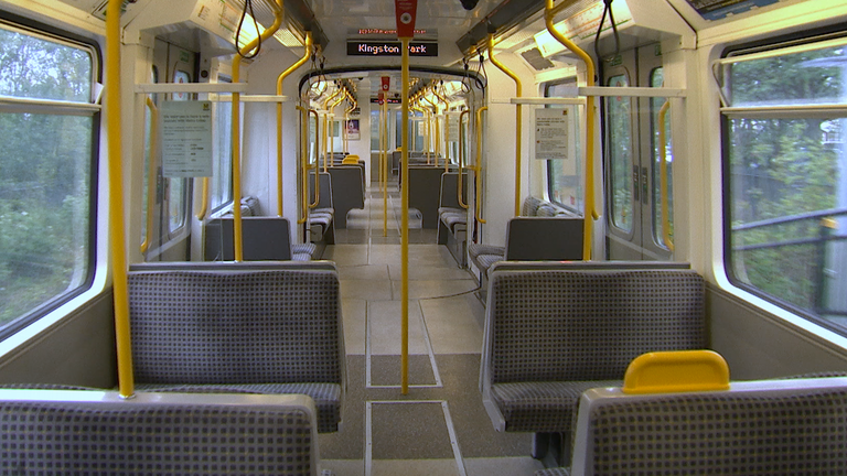 Empty Metro carriages in Newcastle