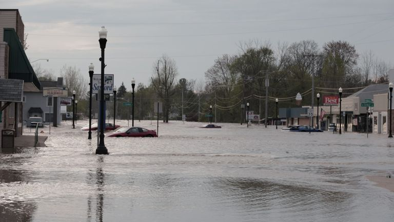 A flooded street in downtown Sanford
