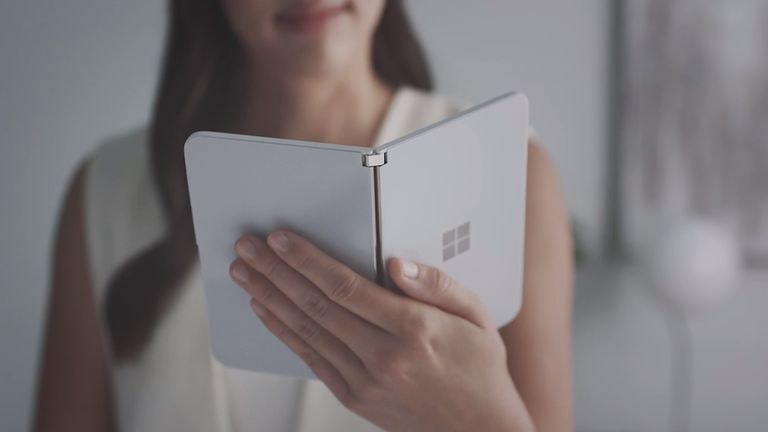 The Microsoft Surface Duo can be held vertically, like a book