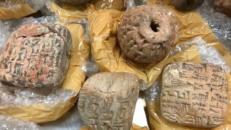 The haul was seized at Heathrow Airport and British Museum experts examined the articles