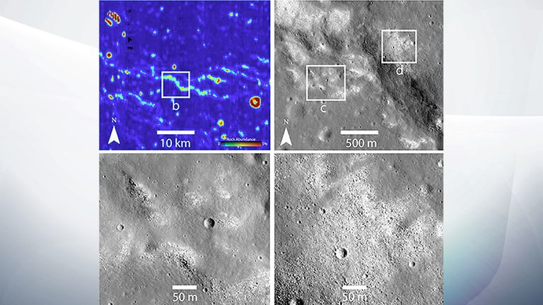 Infrared (upper left) and other images from NASA's Lunar Reconnaissance Orbiter revealed strange bare spots where the Moon's ubiquitous dust is missing. The spots suggest an active tectonic process. Pic: NASA