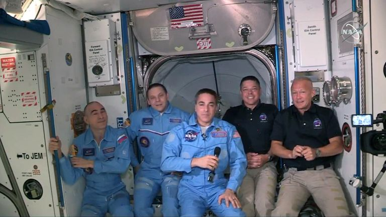 Doug Hurley (right) and Bob Behnken (second right) join Chris Cassidy and Russian cosmonauts Anatoly Ivanishin (left) and Ivan Vagner (second left) on the ISS