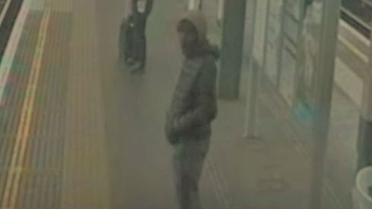 Police are searching for the man in the foreground after an NHS doctor was followed and attacked