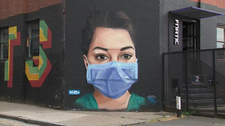 An NHS nurse is honoured through street art