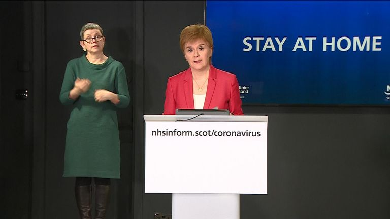 Nicola Sturgeon has told those living in Scotland to 'stay at home' unless exercising or doing essential trips