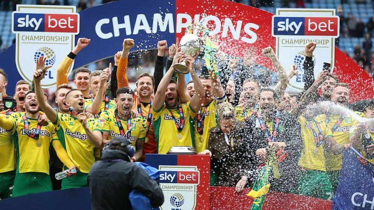 Norwich City celebrate winning the Sky Bet Championship in 2019