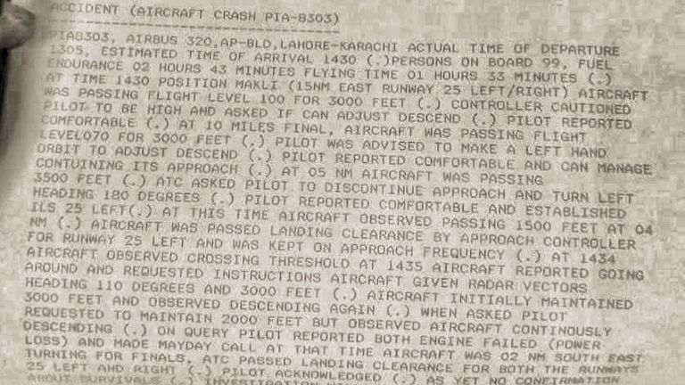 The preliminary report into the Pakistan International Airways flight 8303 crash, obtained by Sky News