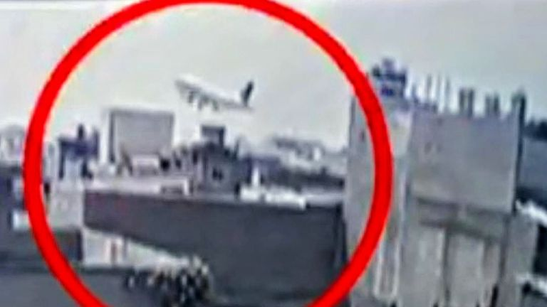CCTV obtained by Sky News shows the moment of a plane crash in which 97 people died.
