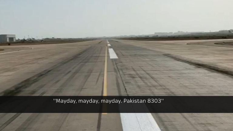 Sky News has obtained audio of the last moments before the plane crashed and video showing multiple tyre marks on the runway