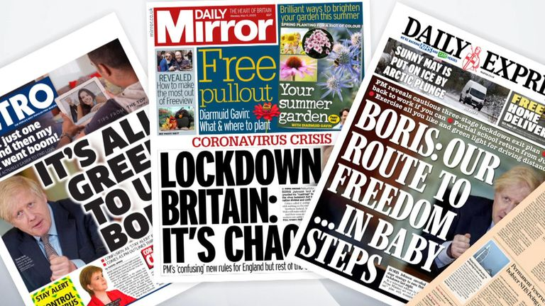 The front pages are dominated by the prime minister's address to the nation about easing the lockdown