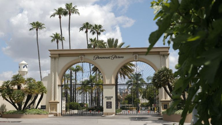 A shuttered Paramount Pictures in Hollywood