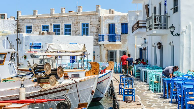The boy's father wants judges to order his son is brought back to London from Paros in the Aegean Sea