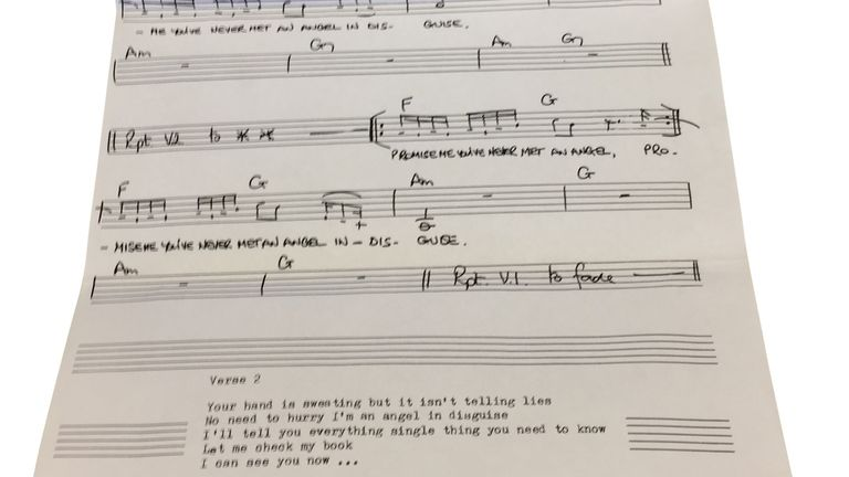 Undated handout image issued by Omega Auctions showing the sheet music of an unheard composition by Paul McCartney and Ringo Starr that is up for auction