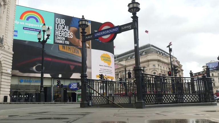 Piccadilly Circus under lockdown