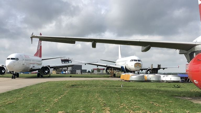 Planes stored at Cotswold Airport as airlines seek cheap storage options